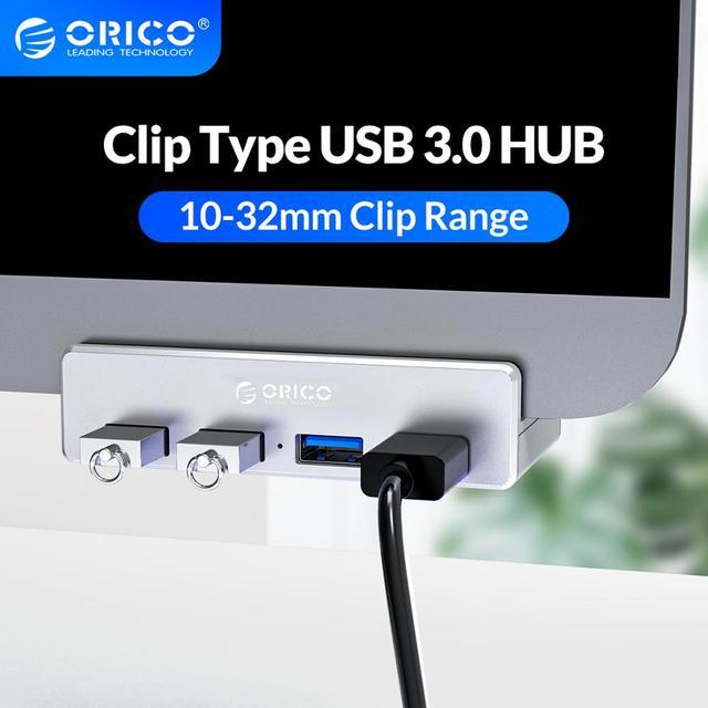 ORICO Clip type USB3.0 HUB Aluminum External Multi 4 Ports USB Splitter Adapter for Desktop Laptop Computer Accessories(MH4PU)