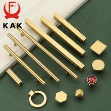 Ручки и ручки для шкафа из чистой меди Золотая кухонная ручка