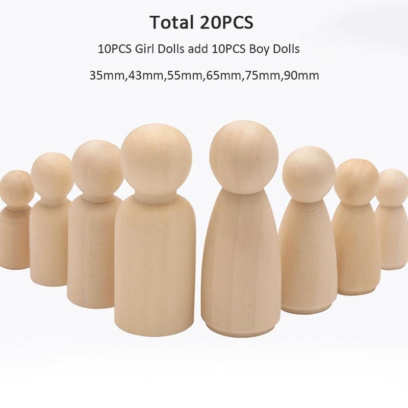 20PCS/Lot 90mm-35mm Natural Wooden Peg Dolls Women And Men Unpainted Wood Blanks Kids Wood For DIY Nursery Decoration Peg Dolls