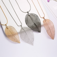 2019 Simple Sweater Coat Necklaces Ladies Women Faihon Leaves Leaf Pendant Necklace Long Chain Jewelry