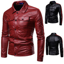 Leather Jacket for Mens Locomotive Fur Coats and Jackets Men Faux LeatherJacket