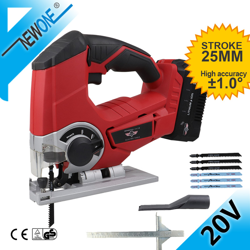 HEPHAESTUS 20V Jigsaw Power Tool Cordless Jig Saw With 6 Pcs Blades Wood, LED Light Adjustable Speed Jigsaw DC Power Tool