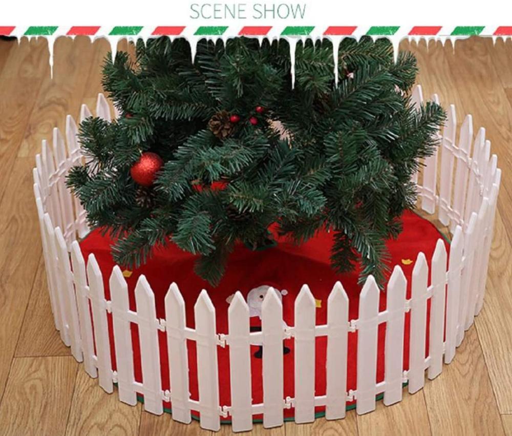 Рождество елка заборы белый пластик забор миниатюра дом сад рождество елка орнамент свадьба вечеринка украшение забор +35,4 дюйм