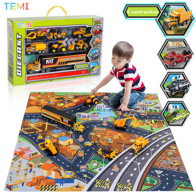 Diecast model Engineering tractor toy car 3 Police& Racing Fire truck Educational Toys trucks for boys children 2 to 4 years old 1