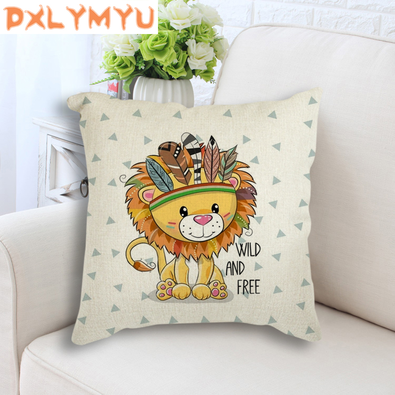 Home Decorative Pillow Covers Nordic Lion Bear Owl Fox Feather Printed Pillow Cases Bedroom Sofa Decoration
