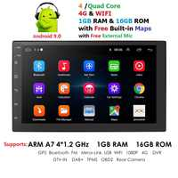 Universal 2 din Android 9.0 Quad Core Car Multimedia Player GPS Wifi BT Radio 4G SIM Network 1024*600 SWC DAB Mic USB Navi Map