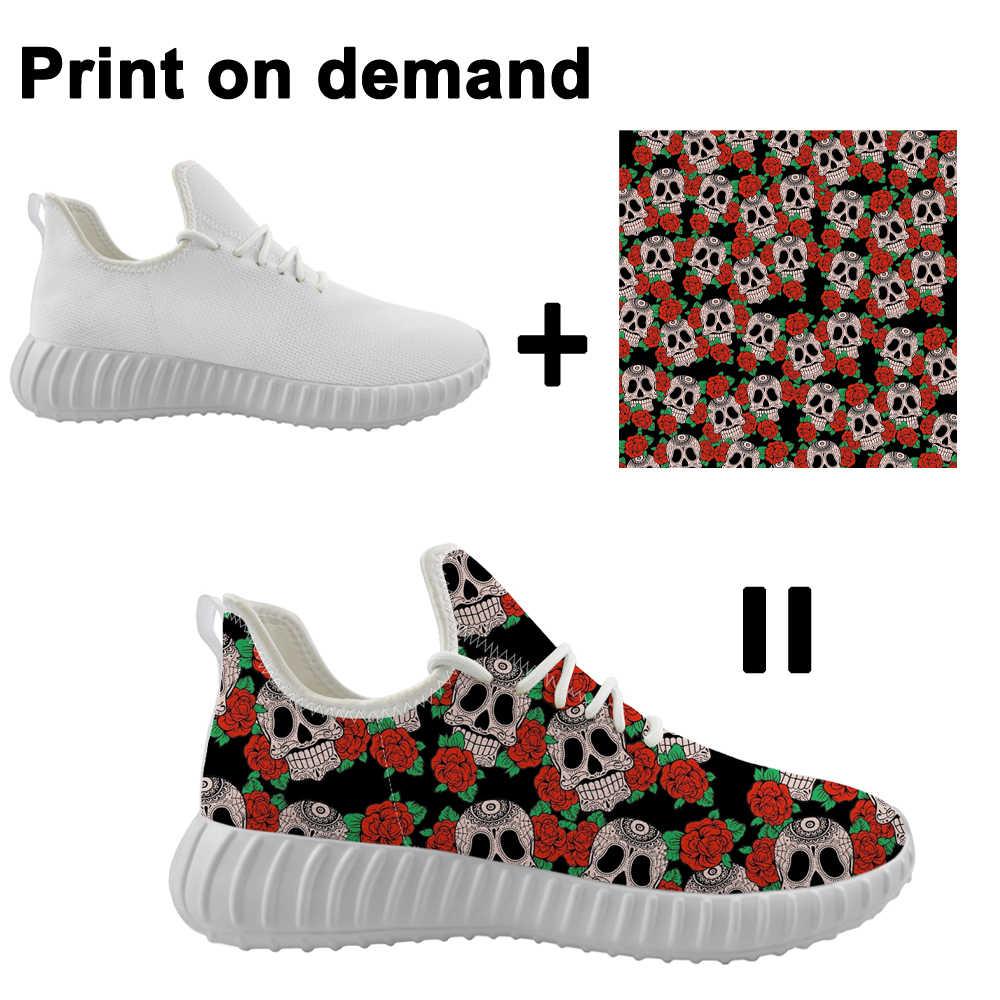 カスタム靴パターンロゴフライング織りメンズスニーカープラットフォームトレーナー通気性メッシュランニングシューズファンタジーカラフルな炎