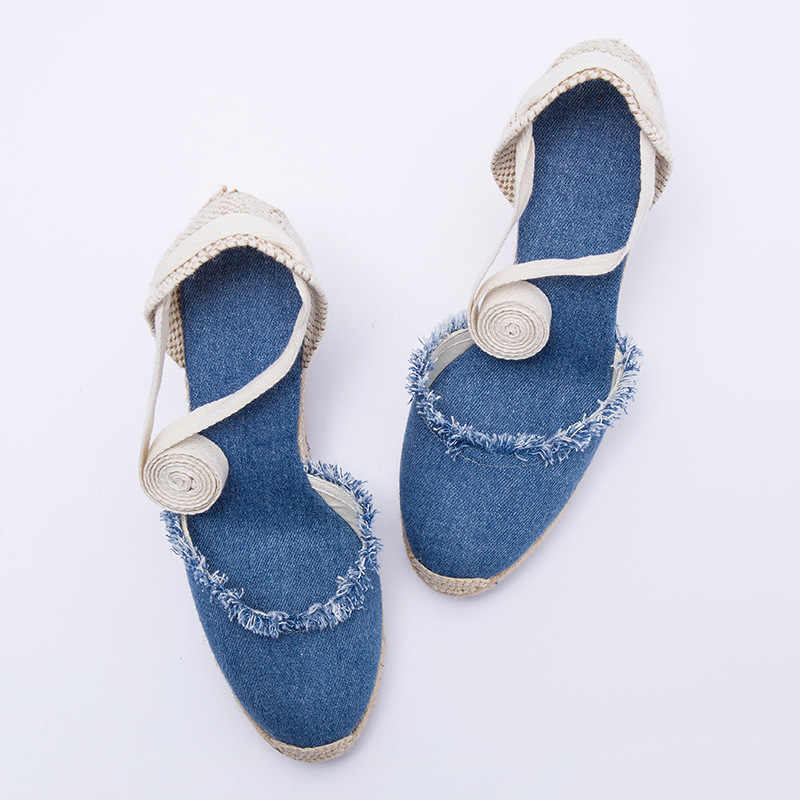 Kadın tuval kama espadrilles 2019 İlkbahar ve yaz 9cm topuk yüksekliği yıpranmış kadın ayakkabı