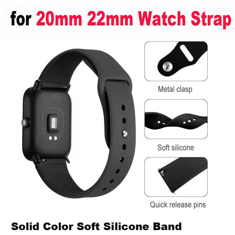 20/22mm סיליקון רך רצועת לxiaomi Huami Amazfit ביפ קצת Smartwatch רצועת 22mm צמיד עבור Huawei שעון 2/סמסונג הילוך S2