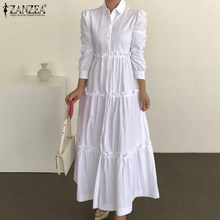 5XL Ruffle Dress Women 2021 Female Maxi Vestidos ZANZEA autunno manica lunga Sundress Casual Solid Stiching Robe Femme Oversized