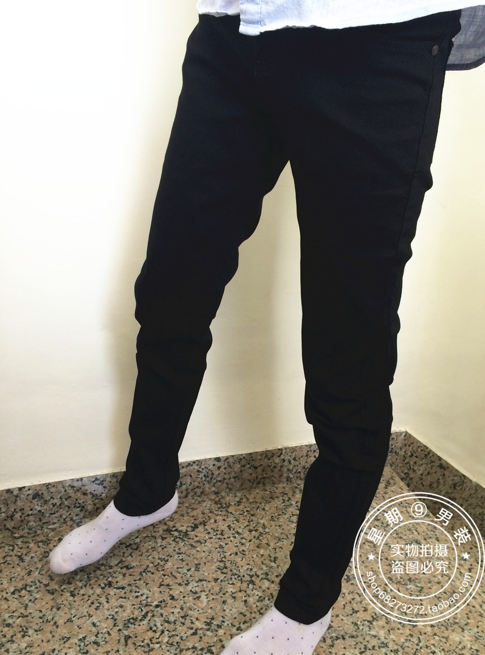 Small Jeans Men's Spring And Summer-Elasticity Black And White With Pattern Long Pants Men'S Wear Casual Slim Fit Pants Closing
