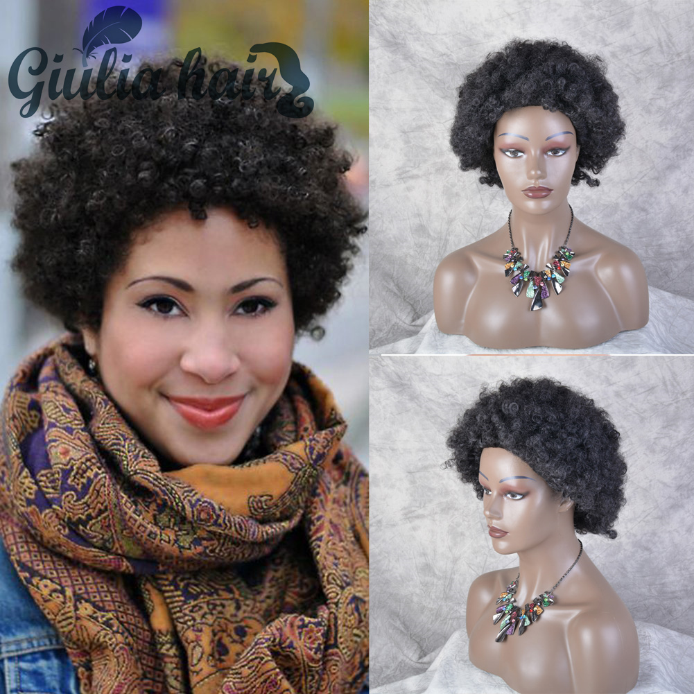 Afro Puff Wigs Short 98% Human Hair Full Wig With Bangs Straight Perruque Cheveux Mixed Human Brazilian wig for black women
