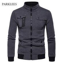 不規則な4ポケットに設計男性2018ファッションスタンド襟ジッパーの綿casaco masculinoカジュアルヒップホップジャケットコートメンズ
