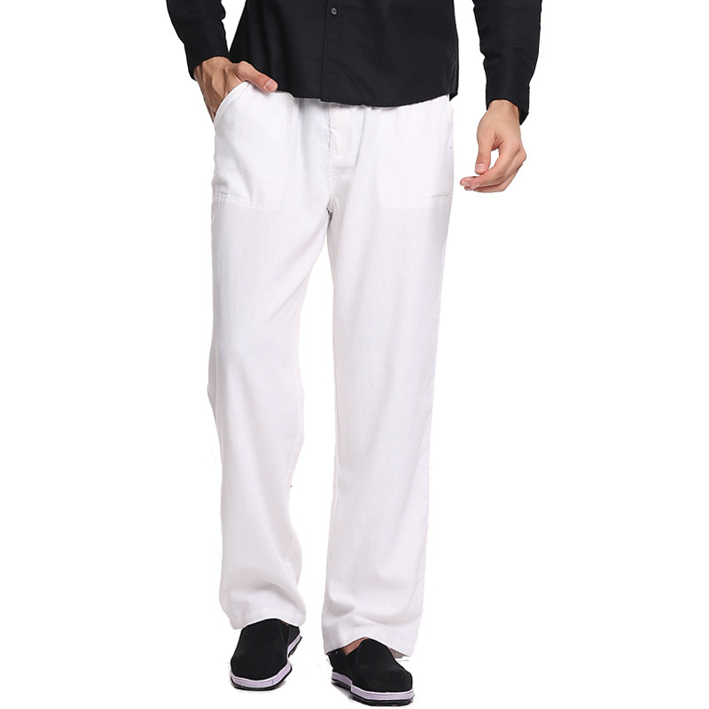 Spring And Autumn New Style Chinese-style Men Cotton Linen Trousers Large Size Loose Straight Casual Pants Men's