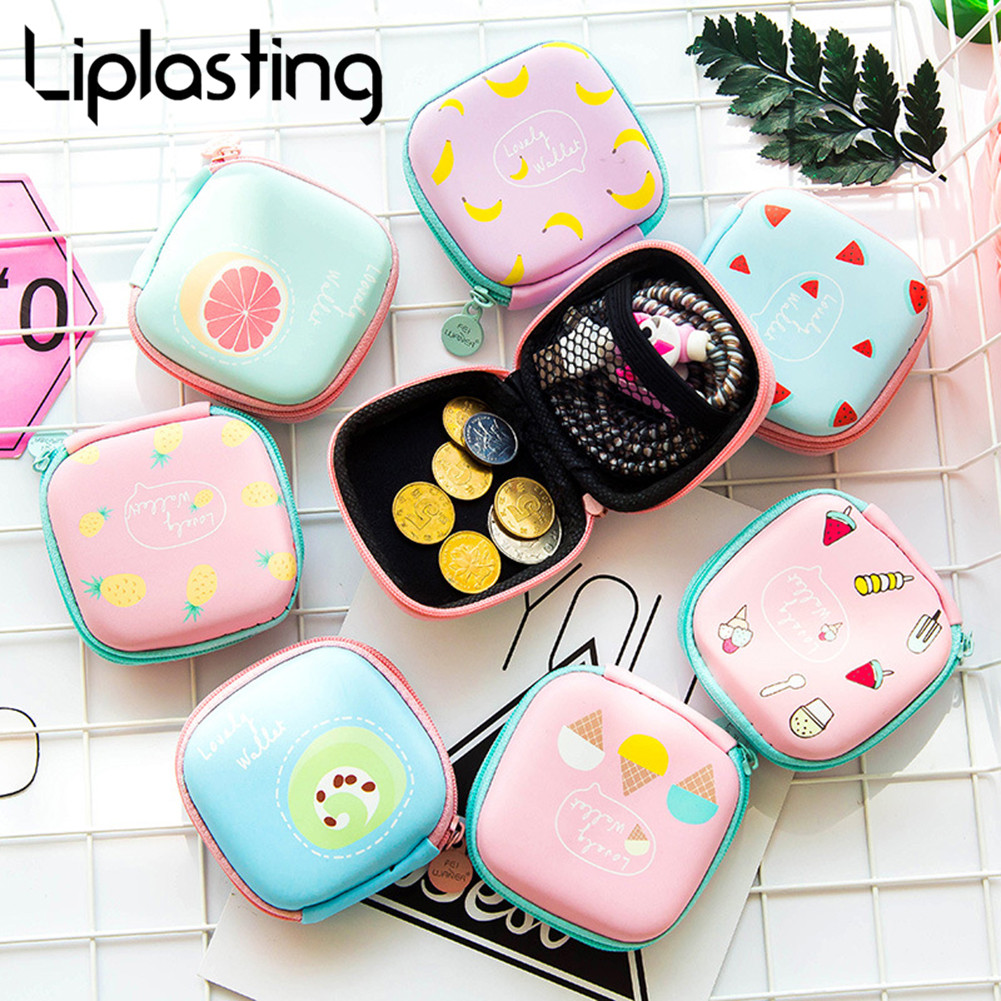 Cartoon Earphone Storage Bag Holder Case Carrying Hard Box Case For Earphone Headphone Accessories Earbuds Memory Card USB Cable