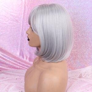 Image 4 - Alan Eaton Pruiken Korte Bobo Cosplay Pruiken Met Pony Rechte Silver Grey Synthetisch Haar Perucas Voor Vrouwen Hittebestendigheid Vezels