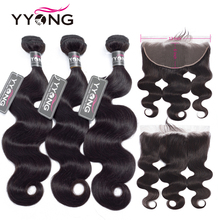 YYong Malaysian Body Wave 3 Bundles With Frontal 13x6 Ear To Lace Bundle Remy Human Hair Weave
