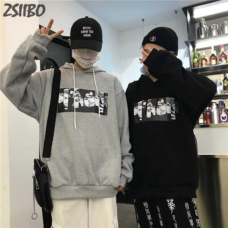 Men's Hoodies 나루토 하라주쿠 Unisex Hoodie 일본 애니메이션 Funny Printed Fun Streetwear 패션 캐주얼 남성 운동복 코트