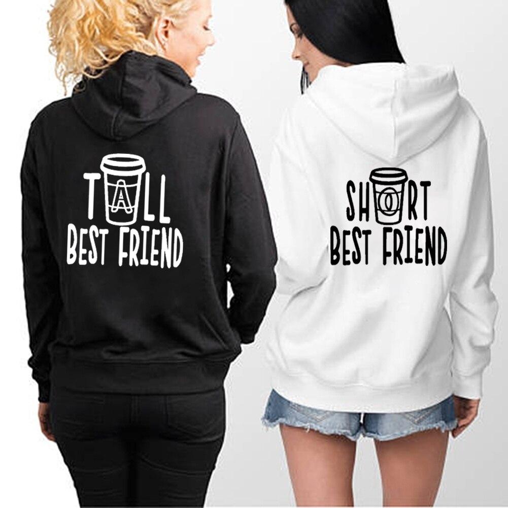 TALL SHORT BEST FRIEND Hoodies Women Pullover Fleece Long Sleeve Sweatshirts For Women Fashion Couples Hoodies