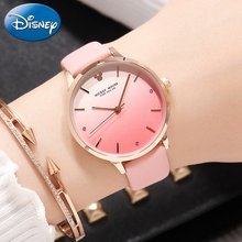 Women's Color Gradient Leather Band Quartz Fashion Trendy Rhinestone Girl Luxury Elegant Disney Mickey Wrist Watch Gift Clocks