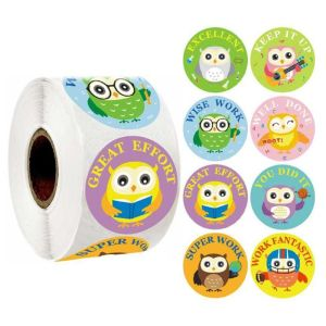 Cute Owl Print Teaching Incentives Label Stickers Craft Per Roll Stationery Adhesive Sealing Paper Stickers Label Home