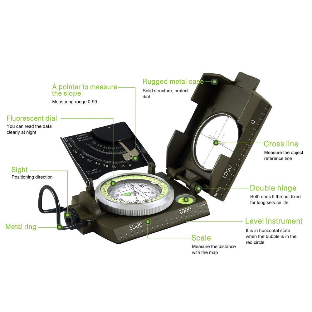 Mulitifunctional Outdoor Survival Military Compass 2