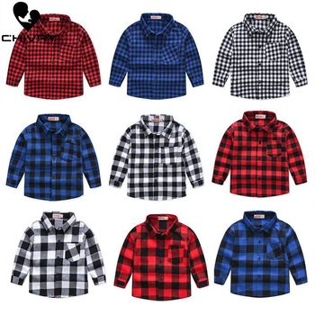 Spring Autumn 2019 New Boys Long Sleeve Classic Plaid Lapel Shirts Tops with Pocket Baby Boys Casual Shirt Kids Clothing kids baby boys clothes casual cotton children clothing for kids boys shirts fashion new spring plaid long sleeve shirts for boys