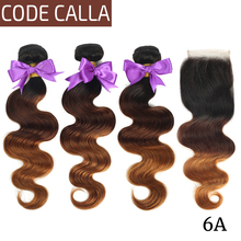 Code Calla Bundles With Closure 4*4 Free Part Body Wave Hair Style 6A Brazilian Remy Human Hair Weaving Ombre Color For Africa стоимость