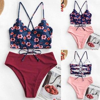 Bañador Bikini femenino conjunto de ropa de playa Push Up de cintura alta para mujer Sexy Floral festoneado Tankini entrecruzado ropa de playa
