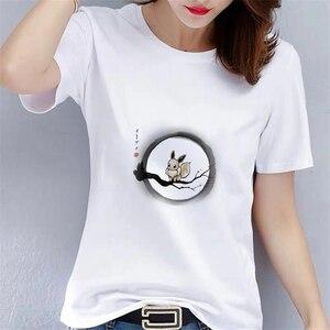 Kawaii Cartoon Animal Short Sleeve T-Shirt Women's Casual White O-Neck Top Women's T-Shirt Summer Women's T-Shirt CN(Origin)