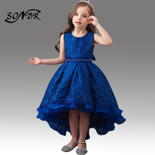 цена на Lace Blue Flower Girl Dresses HT213 Beading O-Neck Little Kid Communion Dress Tank Back Bow Pageant Dress High Low Girls Vestido
