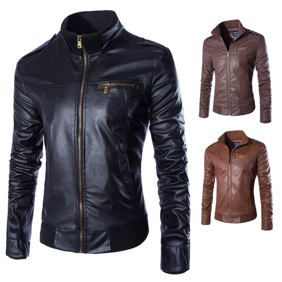 Jacket Men Coats Biker Faux-Leather Motorcycle Thick Men's Winter Autumn PU G81402 Velvet
