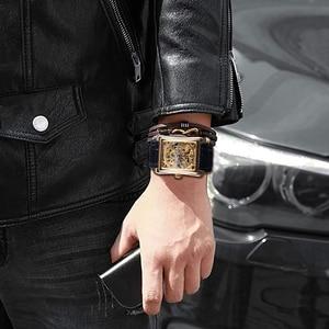 Image 5 - Winner 2017 Retro Casual Series Rectangle Dial Design Golden Pattern Hollow Skeleton Watch Men Watch Top Brand Luxury Mechanical