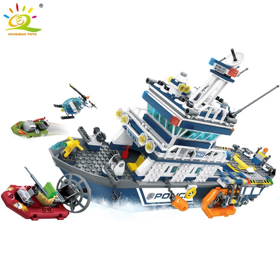 869pcs Police Series Patrol Boat Helicopter Model Building Blocks Legoing City Police Figures Enlighten Bricks Toys For Children-in Blocks from Toys & Hobbies    2