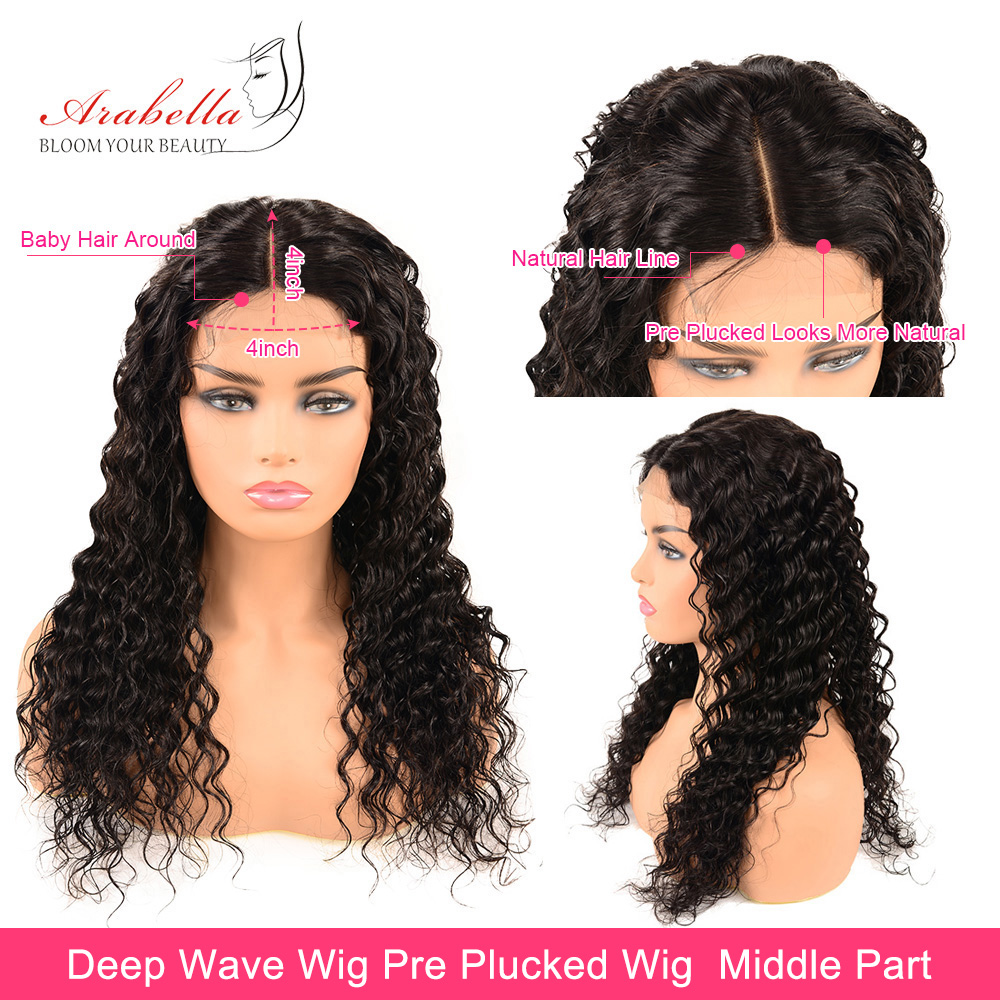 Deep Wave Closure Wig Natural Hair Line With Baby Hair Arabella  Hair Wigs Lace Frontal Wig  PrePlucked Closure Wig 3