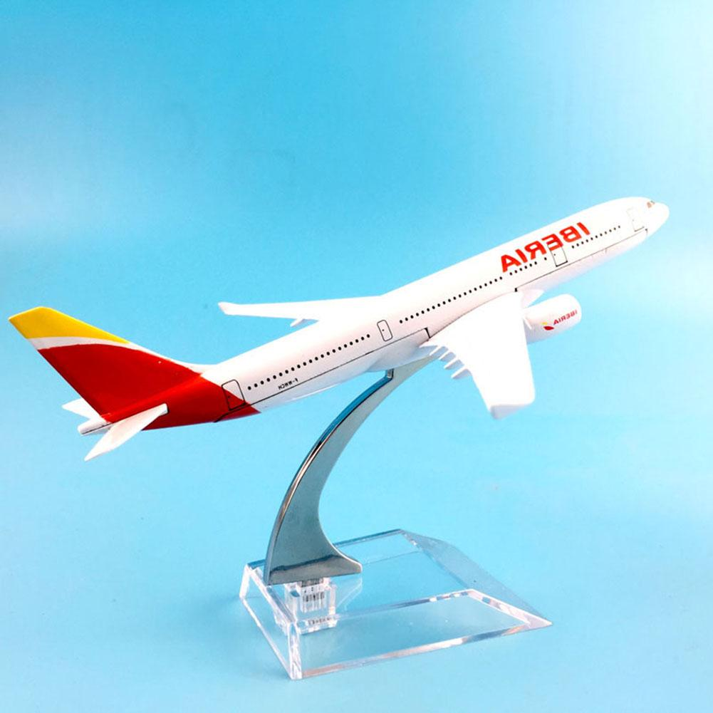 <font><b>1</b></font>/400 Iberia Air Passenger A330-<font><b>200</b></font> Plane Aircraft <font><b>Model</b></font> Desktop Kids Simulation Aircraft Toy Collectible Gift Table Decoration image