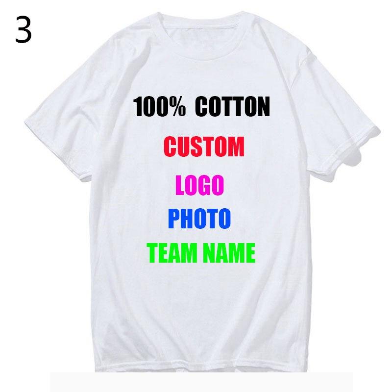 100% Cotton Customized Print T Shirt Women/men DIY Your Like Photo or Logo White Tees Shirts T-Shirt Fashion Men's Custom Tshirt(China)