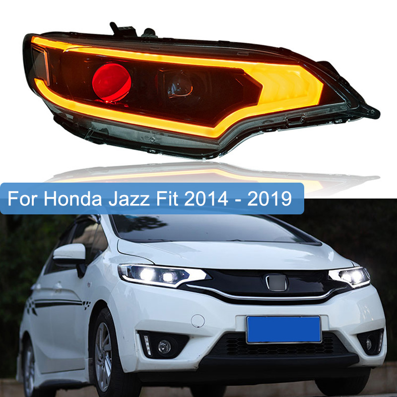 Car Styling For Honda Fit Jazz GK5 Sport 2014 - 2019 LED Headlight Assembly Turn Signal Lamp LED DRL Devil Eyes Light Head Lamp