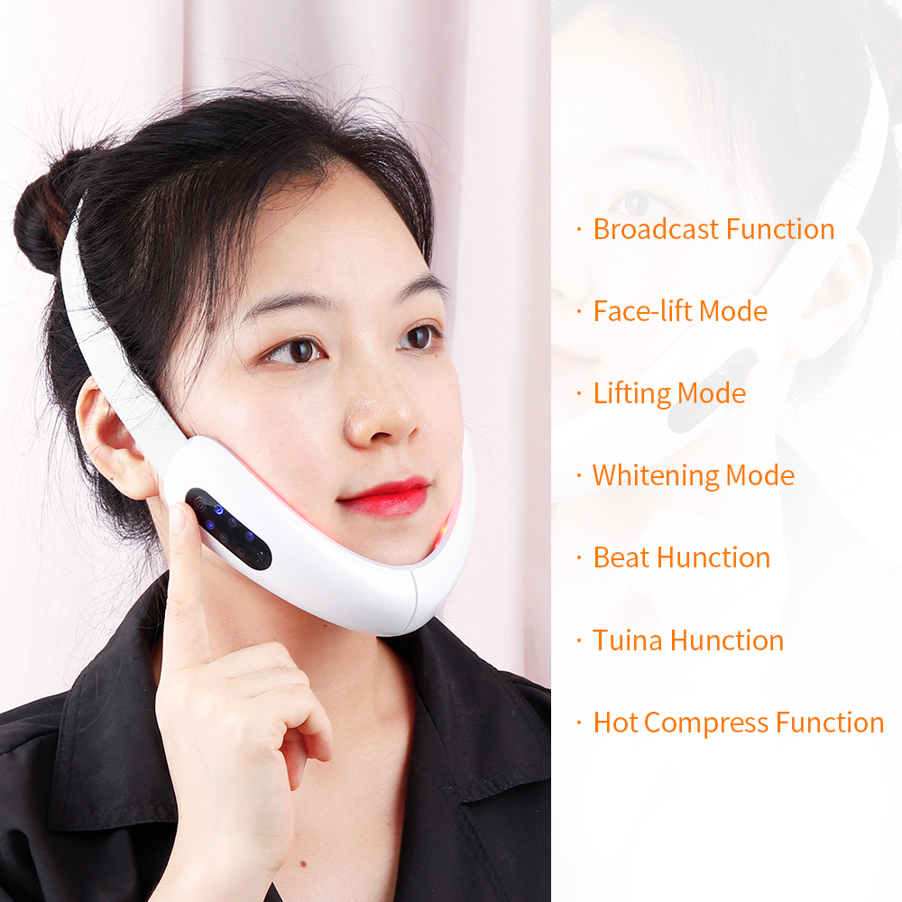 Top SaleLift-Belt-Machine Lifting-Device Vibration-Massager V-Line-Up V-Face-Care Facial Blue