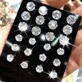 Женские серьги-гвоздики с фианитами, 6 пар/упак., модные серебряные стразы, Простые Вечерние серьги, ювелирные изделия, 6 размеров