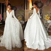 Robe de mariee Vintage Long Sleeve Lace Satin Wedding Dress Sexy Deep V Neck Backless Bride Dress for Wedding