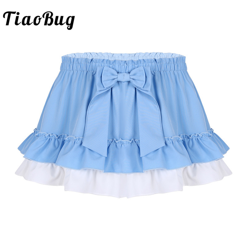 TiaoBug Adult Elastic High Waist With Bowknot Frilly Ruffled Hem A-line Kawaii Fancy Mini Skirt Unisex Women Men Sissy Costume