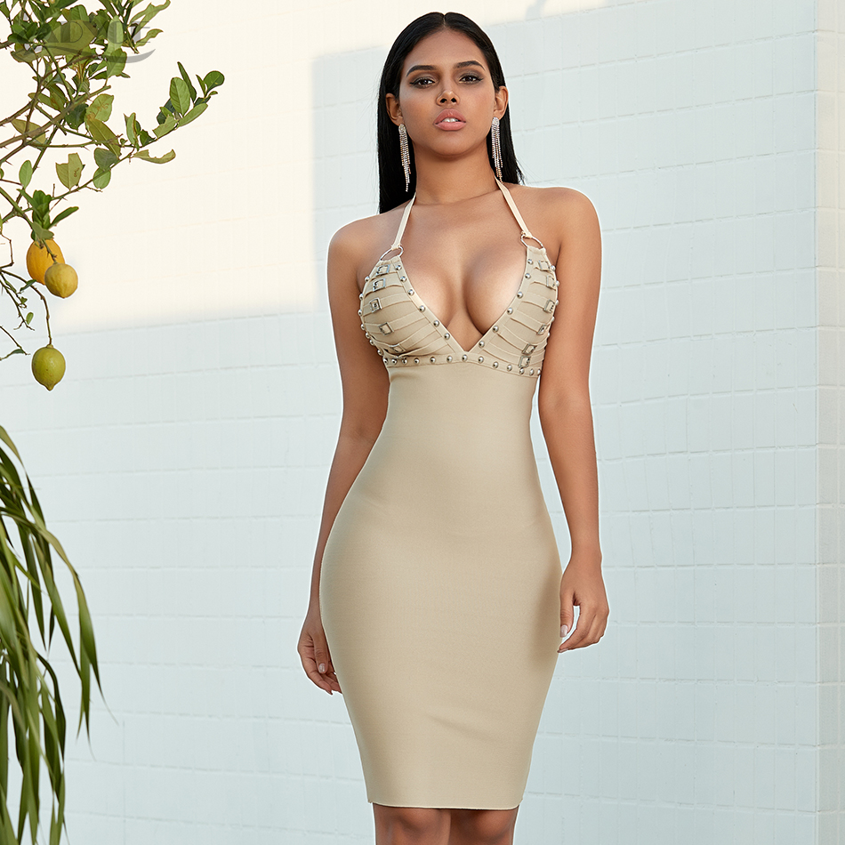 Adyce 2020 New Summer Nude Women Beading Bandage Dress Sexy Spaghetti Strap Club Celebrity Evening Runway Party Dress Vestidos