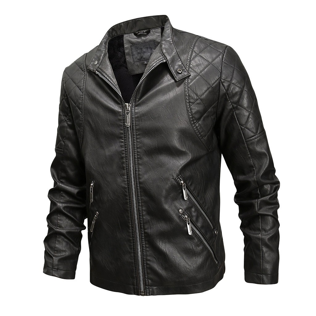 Men Winter Leather Jacket Biker Motorcycle Zipper Long Sleeve Coat Top Blouses Motorcycle Jackets Male Coats Brand Clothing 9.24