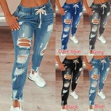 Drawstring denim jeans feminino rasgado buraco estiramento jean 2021 sexy magro cintura alta senhoras plus size comprimento total lápis calças