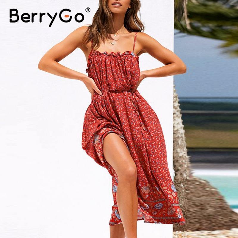BerryGo Sleeveless Women Summer Dresses Floral Print Ruffled Beach Sun Dress 2020 High Waist A Line Cotton Casual Maxi Dress