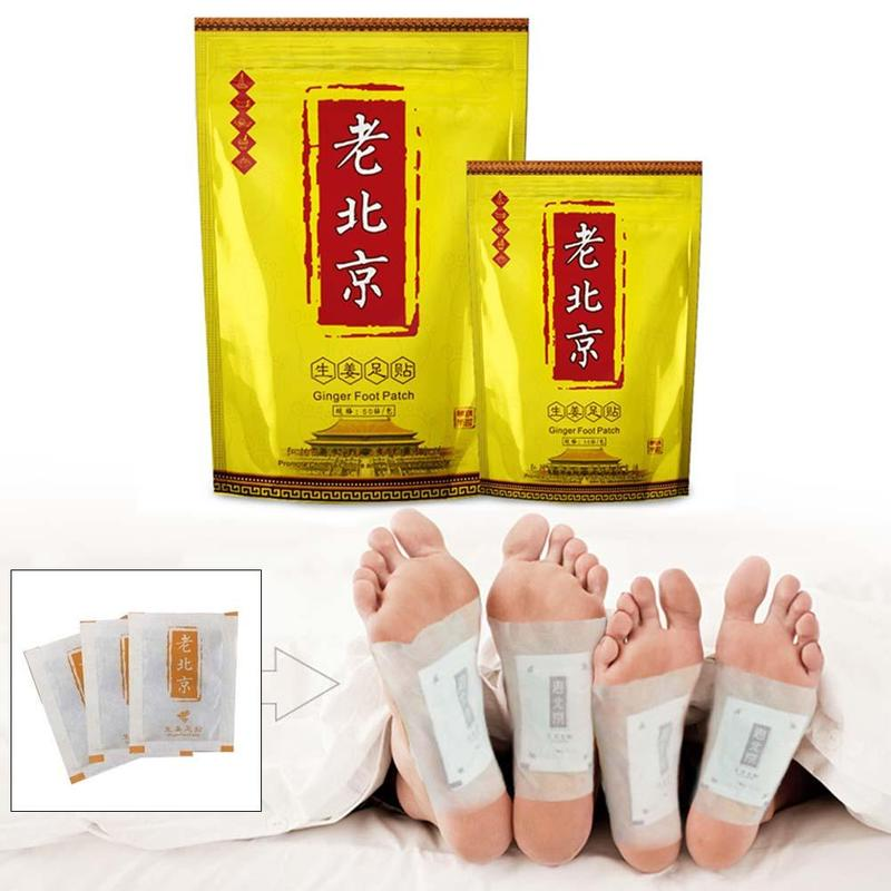 10pcs/box Body Detox Foot Patch Relax Chinese Ginger Herbal Adhesive Pads Wormwood Anti-swelling Foot Mask Detox Foot Stickers