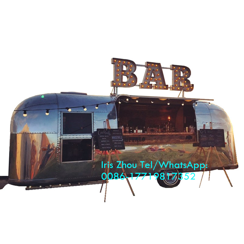 Mobile Shawarma Food Truck, Hamburger Food Trailer For Sale, Airstream Mobile Stainless Steel Food Trailer