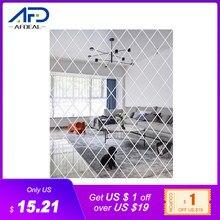 Espejo acrílico 3D de diamantes para pared, adhesivo de decoración para el hogar, sala de estar, baño, 32 Uds., 50x100cm