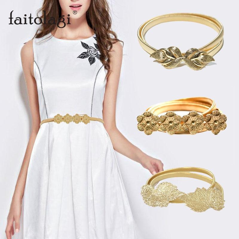 Summer Elastic Ladies Belt For Dress Gold Color Leaves Women Belt Stretch Skinny Female Waist Belts Ceinture Femme
